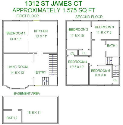 5 Bedrooms 2 Bathrooms House for rent at 1312 St James Ct in Madison, WI