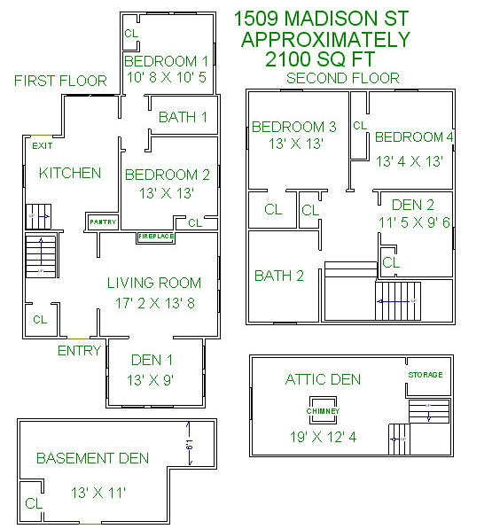 5 Bedrooms 2 Bathrooms House for rent at 1509 Madison St in Madison, WI