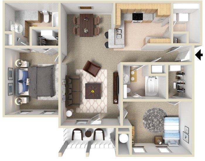2 Bedrooms 2 Bathrooms Apartment for rent at South Bluffs Apartments in Memphis, TN