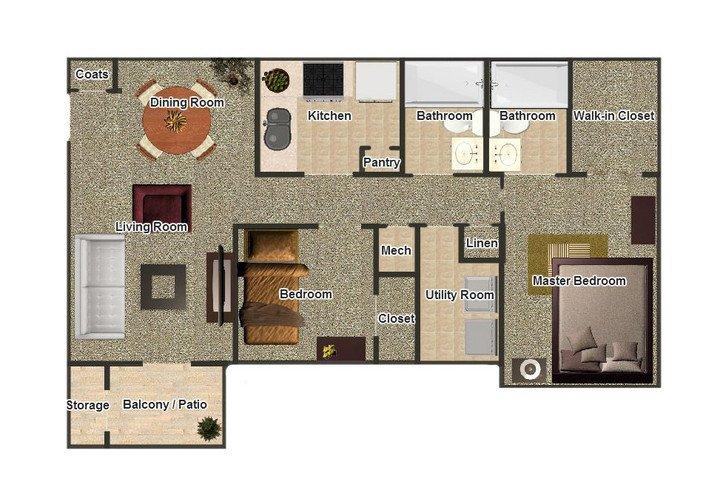 2 Bedrooms 2 Bathrooms Apartment for rent at Autumn Ridge in Memphis, TN