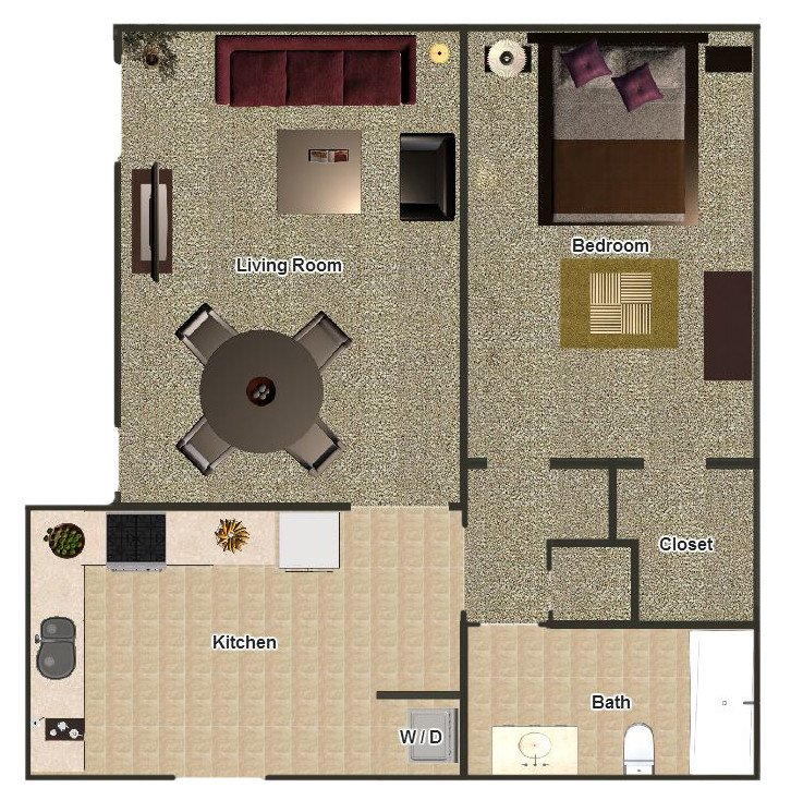 1 Bedroom 1 Bathroom Apartment for rent at Mill Creek Apartments in Memphis, TN