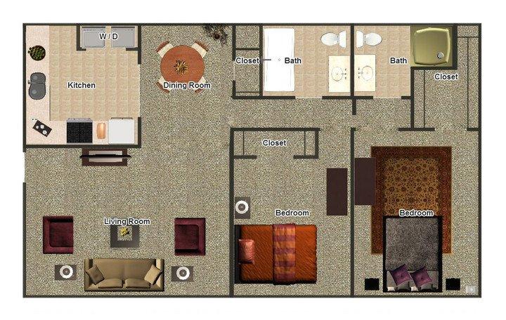 2 Bedrooms 2 Bathrooms Apartment for rent at Mill Creek Apartments in Memphis, TN