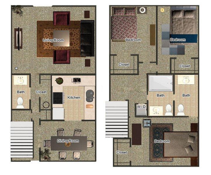 3 Bedrooms 2 Bathrooms Apartment for rent at Mill Creek Apartments in Memphis, TN