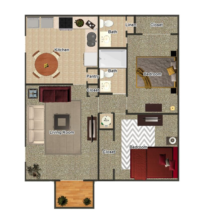 2 Bedrooms 2 Bathrooms Apartment for rent at The Coves At Yale in Memphis, TN
