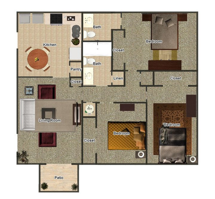 3 Bedrooms 2 Bathrooms Apartment for rent at The Coves At Yale in Memphis, TN