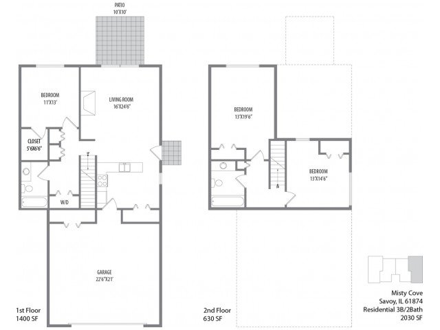 3 Bedrooms 2 Bathrooms Apartment for rent at Misty Cove in Savoy, IL