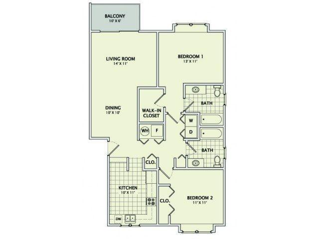 2 Bedrooms 2 Bathrooms Apartment for rent at Prospect Pointe East in Savoy, IL