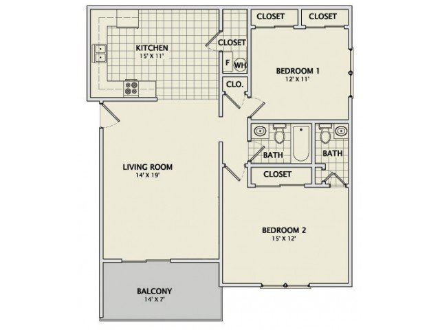 2 Bedrooms 1 Bathroom Apartment for rent at Stonegate Village in Champaign, IL