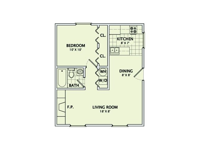 1 Bedroom 1 Bathroom Apartment for rent at Westwood Village in Champaign, IL