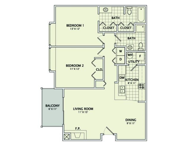 2 Bedrooms 2 Bathrooms Apartment for rent at Ginger Creek in Champaign, IL