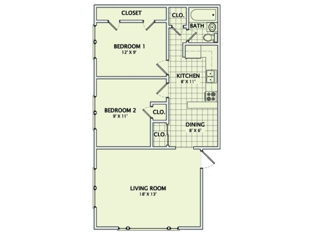 2 Bedrooms 1 Bathroom Apartment for rent at Green Street in Champaign, IL