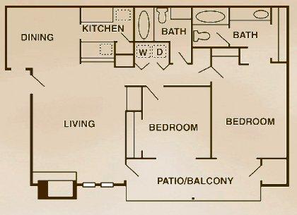 2 Bedrooms 2 Bathrooms Apartment for rent at Landera Apartments in San Antonio, TX