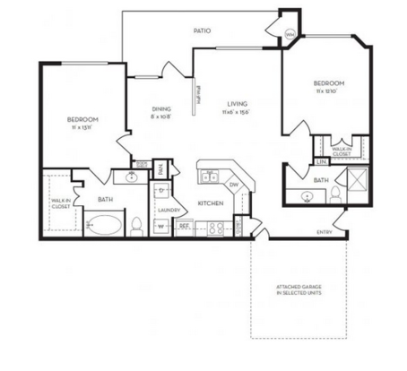 2 Bedrooms 2 Bathrooms Apartment for rent at The Villas At Rogers Ranch in San Antonio, TX