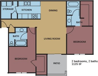 2 Bedrooms 2 Bathrooms Apartment for rent at Eton Square in Memphis, TN