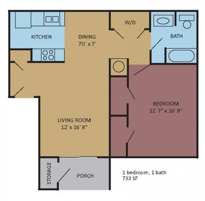 1 Bedroom 1 Bathroom Apartment for rent at The Magnolias At Hernando in Hernando, MS
