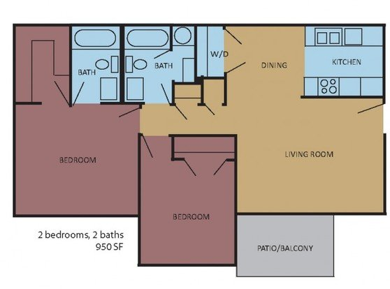 2 Bedrooms 2 Bathrooms Apartment for rent at Rocky Creek in Southaven, MS