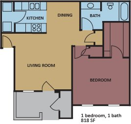 1 Bedroom 1 Bathroom Apartment for rent at Eton Square in Memphis, TN