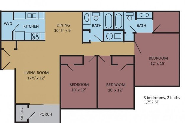 3 Bedrooms 2 Bathrooms Apartment for rent at The Magnolias At Hernando in Hernando, MS