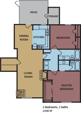 2 Bedrooms 2 Bathrooms Apartment for rent at Monticello in Memphis, TN