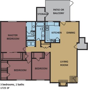 3 Bedrooms 2 Bathrooms Apartment for rent at Monticello in Memphis, TN