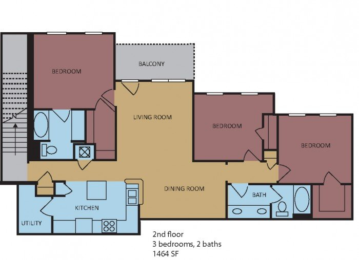 3 Bedrooms 2 Bathrooms Apartment for rent at Westbury in Memphis, TN