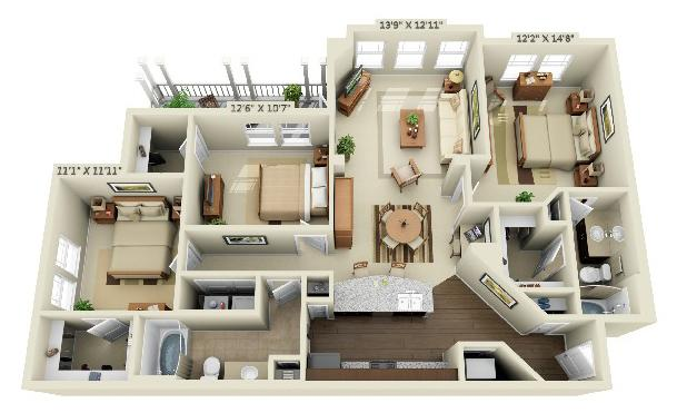 3 Bedrooms 2 Bathrooms Apartment for rent at Creekstone At Rtp in Durham, NC