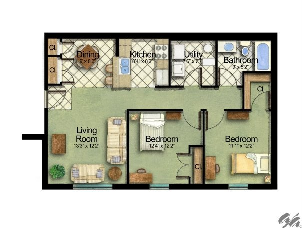 2 Bedrooms 1 Bathroom Apartment for rent at Owens Lake Commons in Walbridge, OH
