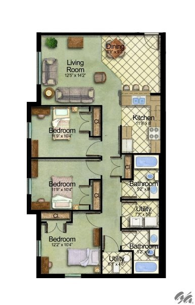 3 Bedrooms 2 Bathrooms Apartment for rent at Owens Lake Commons in Walbridge, OH