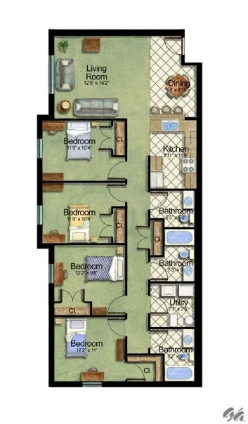 4 Bedrooms 2 Bathrooms Apartment for rent at Owens Lake Commons in Walbridge, OH