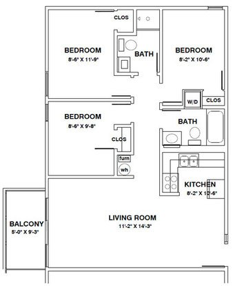 3 Bedrooms 2 Bathrooms Apartment for rent at 106 S Coler in Urbana, IL