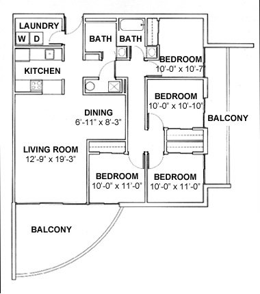 4 Bedrooms 2 Bathrooms Apartment for rent at Round Balconies in Champaign, IL
