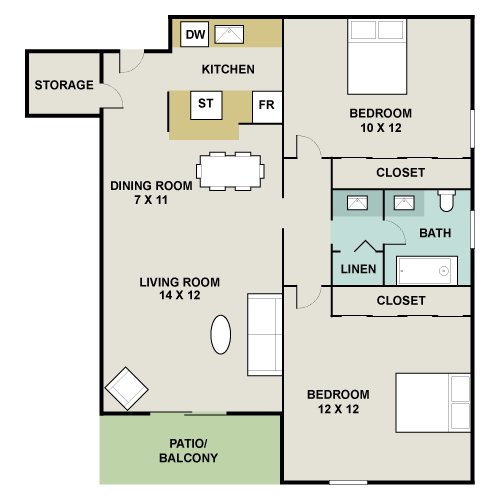2 Bedrooms 1 Bathroom Apartment for rent at 3300 Tamarac Apartments in Denver, CO