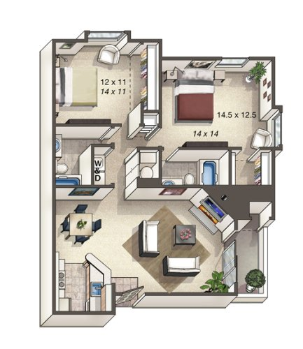 2 Bedrooms 2 Bathrooms Apartment for rent at Alton Green in Denver, CO