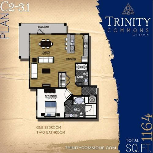 1 Bedroom 2 Bathrooms Apartment for rent at Trinity Commons At Erwin in Durham, NC