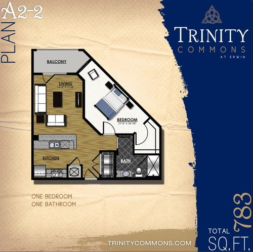 1 Bedroom 1 Bathroom Apartment for rent at Trinity Commons At Erwin in Durham, NC