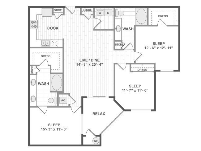3 Bedrooms 2 Bathrooms Apartment for rent at Amli Ridgegate Apartments in Lone Tree, CO