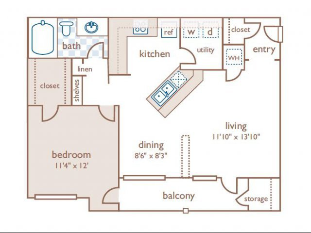 1 Bedroom 1 Bathroom Apartment for rent at The Estates At River Pointe in Memphis, TN