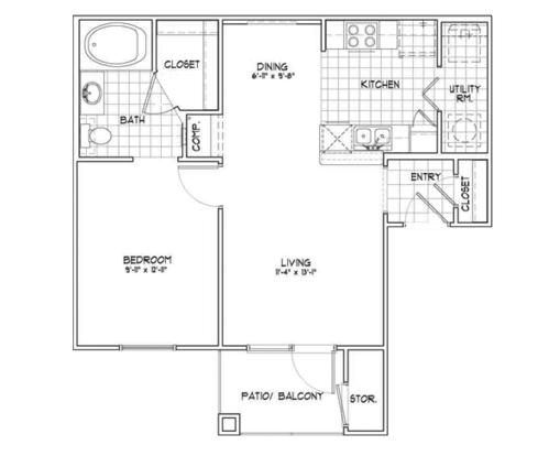 1 Bedroom 1 Bathroom Apartment for rent at Remington Ranch Apartments in San Antonio, TX