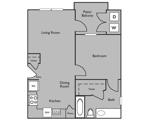 1 Bedroom 1 Bathroom Apartment for rent at Republic Woodlake Apartments in San Antonio, TX