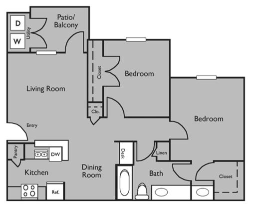 2 Bedrooms 1 Bathroom Apartment for rent at Republic Woodlake Apartments in San Antonio, TX