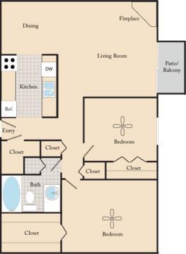 2 Bedrooms 1 Bathroom Apartment for rent at Fox Ridge Apartments in Omaha, NE