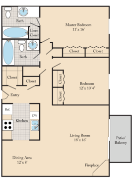 2 Bedrooms 2 Bathrooms Apartment for rent at Edgewater Court Apartments in Omaha, NE