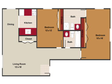2 Bedrooms 2 Bathrooms Apartment for rent at Meridian Garden Apartments in Denver, CO