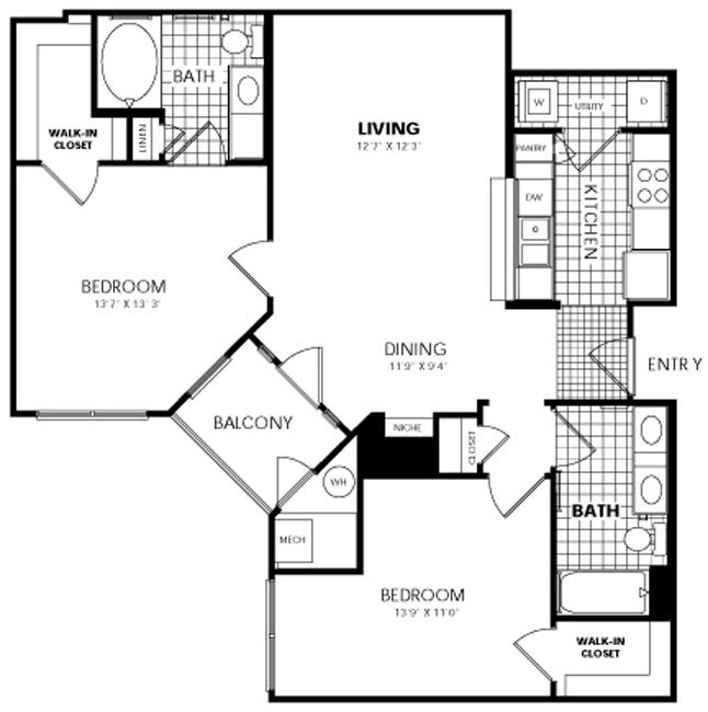 2 Bedrooms 2 Bathrooms Apartment for rent at City Gate Apartments in Denver, CO