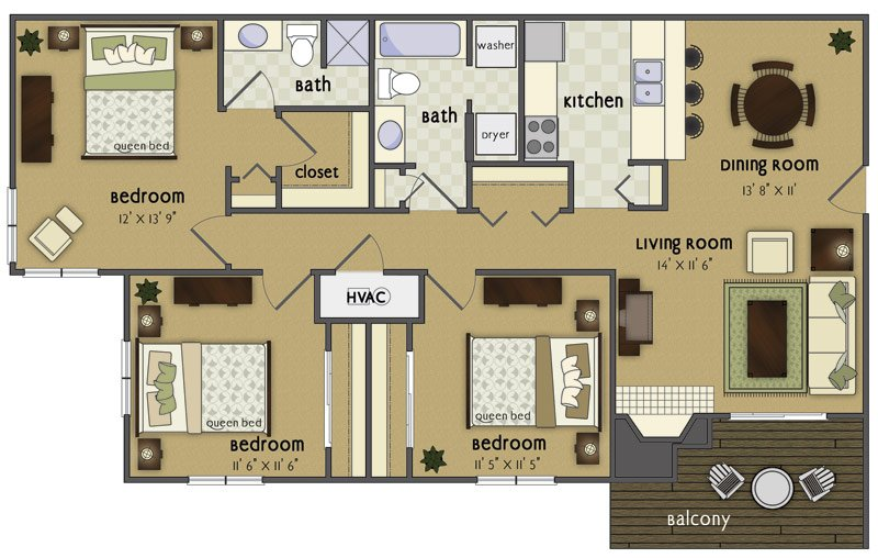 3 Bedrooms 2 Bathrooms Apartment for rent at Wycliffe in Omaha, NE