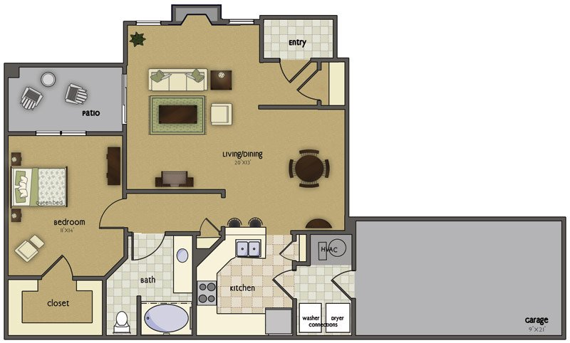 1 Bedroom 1 Bathroom Apartment for rent at Crown Park in Omaha, NE