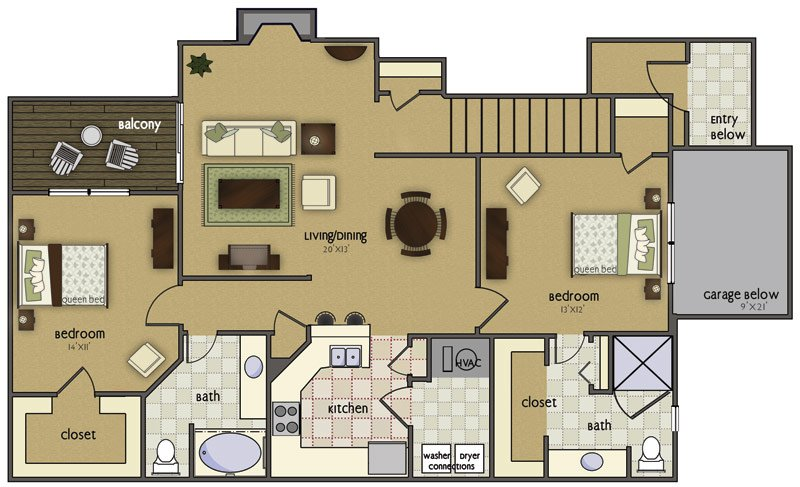 2 Bedrooms 2 Bathrooms Apartment for rent at Crown Park in Omaha, NE