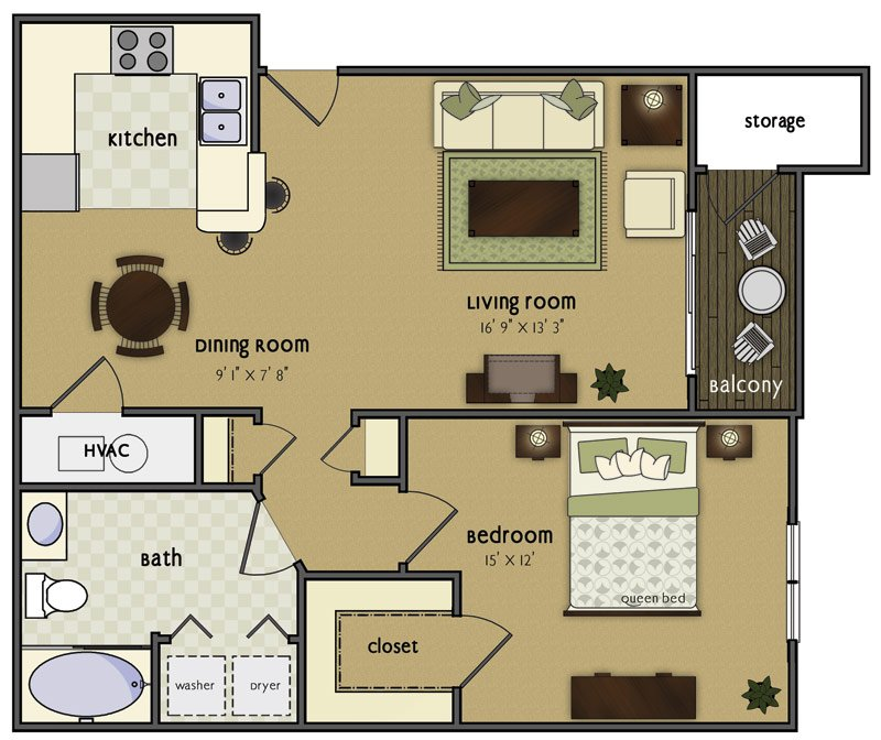 1 Bedroom 1 Bathroom Apartment for rent at Loveland in Omaha, NE