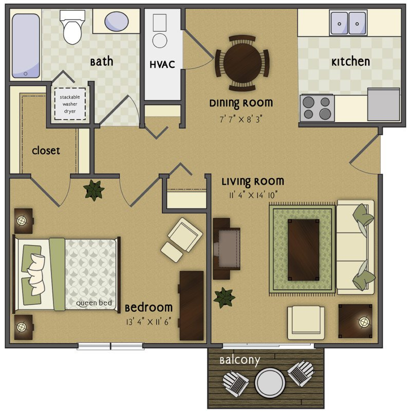 1 Bedroom 1 Bathroom Apartment for rent at Spring Tree in Omaha, NE