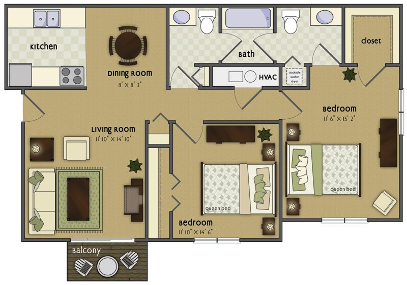 2 Bedrooms 2 Bathrooms Apartment for rent at Spring Tree in Omaha, NE